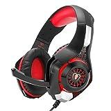 Gaming Headset Kopfhörer, GM-1 3.5mm Surround Sound Kopfhörer für PS4 PC Xbox One Laptop Tablet Mobile Phones(Schwarz & Rot)