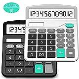 Taschenrechner, splaks 2Pack Standard funktionelle Desktop Taschenrechner Sola und AA Akku Dual Power Taschenrechner mit 12-stellig großes Display (1schwarz & 1Silber)