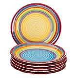 MamboCat 6-tlg. Teller-Set Ibiza | Kuchenteller Rund | Ø 19.5 cm | H 2.5 cm | Kleiner Dessert-Teller | Porzellan-Speiseteller | kunterbunte Regenbogen-Farben