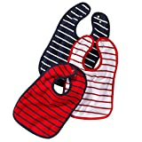 Baby-Lätzchen mit Druckknopf | größenverstellbarer und strapazierfähiger Klecker-Schutz | im 3er Set | aus 100% Baumwolle | klassisch gestreift in marine-blau, rot und weiß