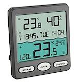 TFA Dostmann TFA Venice 30.3056.10, zur Überwachung der Wassertemperatur in Pool, Teich oder Whirlpool Digitales Funk-Poolthermometer, Kunststoff, Grau