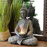 INtrenDU Buddha Statue mit Teelichthalter 31cm