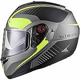 Schwarz Optimus SV Tour Max Vision Flip Front Motorrad Helm XL Matt Schwarz Sicherheit gelb
