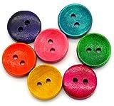 Sadingo Holzknöpfe - 50 Stück - 1,5 cm - Bunter Mix - Rot Grün Gelb Blau Pink - Kleine Knöpfe Set zum Nähen und Basteln