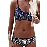 BaronHong Gypsy böhmischen Druck Balconette Bikini Badeanzug Frauen Badeanzug (blau, XL)