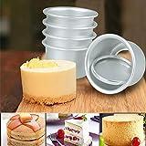 Agoky 5 Stücke Runde Backform Muffinform aus eloxiertem Aluminium kleine Förmchen Mini Kuchenform mit Abnehmbare Böden DIY Backen Zubehör-2.4inch