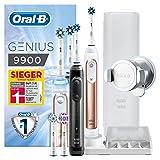 Oral-B Genius9900 Elektrische Zahnbürste, 2Handstücke mit Bluetooth-Verbindung, 4Aufsteckbürsten, Reise-Etui, rose gold und schwarz