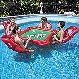 WXH Aufblasbarer Pool-Pokertisch, Schwimmspielzeug-Floß für Schwimmbecken, 4 schwimmende Lounge-Stühle, wasserdichtes Poker und Chips, integrierte Getränkehalter