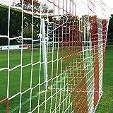 Fußballtornetz 7,5 x 2,5 m Tiefe oben 0,80 / unten 1,50 m, zweifarbig, PP 4 mm ø, rot / weiß