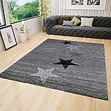Teppich Modern Design Grau Schwarz Weiß Kurzflor Stern Muster Pflegeleicht Top Qualität 120x170 cm