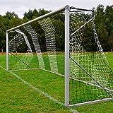Donet Fußballtornetz 7,5 x 2,5 m Tiefe oben 0,80/unten 1,50 m, zweifarbig, PP 4 mm ø, schwarz/weiß