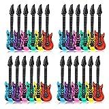 Schramm 24er Pack Luftgitarren Bunt 100cm in 6 Farben Luft Gitarre Air Guitar aufblasbar
