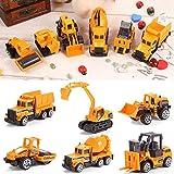 KEPTEI Baufahrzeuge Kinder Spielzeugauto Geschenk, Baustellenfahrzeuge Story Baufahrzeug mit Anhänger, Schaufelbagger/Fahrmischer/Walzenzug/Kipp-LKW/Gabelstapler Spielzeug (6-Set)