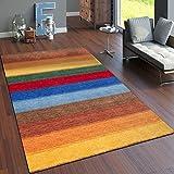 Paco Home Teppich Handgewebt Gabbeh Hochwertig 100% Wolle Meliert Balken Multicolor, Grösse:240x340 cm