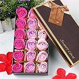 Gearmax 18pcs Rosen-Duftseifen in Geschenk-Box,Rose Soap Blumen,Farbverlauf Farbe(Rosarot)