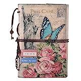 Maleden Tagebuch mit Paris-Motiv, Reisenotizbuch, mit Ledereinband, Vintage-Stil, klassisch, nachfüllbar, Planer für Mädchen und Jungen, blanko, mit Reißverschlussfach blumen