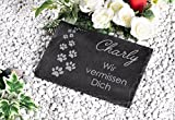 CHRISCK design Gedenktafel mit Gravur Grabstein Grabplatte 30x20 (Modell Pfoten)