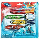 BETTERLINE SwimFun Wasser Torpedo-Spielzeug gleitet unter Wasser - Kinder verbessern Ihr Tauchen und Schwimmen - 4 Tauch-Torpedos in jeder Packung