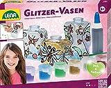 Lena 42693 - Bastelset Glitzer - Vasen, Komplettset mit 3 kleinen Flacons aus Kunststoff, 6 glitzernden Farben, Malpinsel, Konturenpaste und Deko Steine, Glasmalset für Kinder ab 8 Jahre