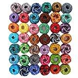42 Rollen Häkelgarn Baumwollgarn Faden von Kurtzy- Streifen Design in einer Auswahl von Farben - Fäden für Muster, Projekte und Applikationen - 210 Gramm - 1806 Meter Faden - Hochwertiges Material