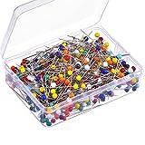 500 Stück 4 mm Glas Kopfstifte Boxed Pinnadel Stecknadeln für Schmuck Komponenten Blumendekoration, Mehrfarbig