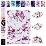 E-Mandala Universal 10 Zoll Hülle Etui Flip Case Leder Wallet Cover Tablet PC Tasche mit Kartenfach Klapphülle Ledertasche Lederhülle - Blumen