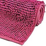 WohnDirect Badematte - Badezimmerteppich zum Set kombinierbar - rutschfest - Badvorleger - Waschbar - WC Garnitur - Badteppich - 45x45cm MIT WC-Ausschnitt - Pink