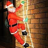 Weihnachtsmann auf Leiter LED beleucht  XXL 240cm  LEDs stromsparend  Innen und Außen  8 Leuchtfunktionen  Schutzklasse: IP44 - Santa Claus Nikolaus Figur Leiter Weihnachts Dekoration Weihnachten