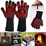 Homemaxs 800 °C Grillhandschuhe Ofenhandschuhe Hitzebeständige Kochenhandschuhe EN407-Zertifizierung BBQ Handschuhe Anti-Rutsch Silikon Handschuhe für zum Grillen, Kochen, Backen, Schweißen