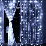 LED Lichtervorhang, Qedertek 300 LED 3m x 3m Lichterkettenvorhang 8 Lichtmodi Lichterketten Sterne Strombetrieben ideal für Innen Außen Garten Party Hochzeit Schlafzimmer Deko - Kalteweiß