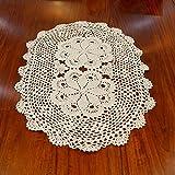 ustide Landschaft Crochet Tischset Baumwolle Tisch Deckchen oval Spitze Design Tischdecken für Couchtisch 40,6x 61cm, Spitze, beige, Size:oval 14.7*23.6 inches(40*60cm)