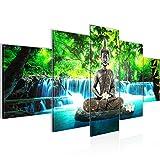 Bilder Buddha Wasserfall Wandbild 200 x 100 cm Vlies - Leinwand Bild XXL Format Wandbilder Wohnzimmer Wohnung Deko Kunstdrucke Blau 5 Teilig -100% MADE IN GERMANY - Fertig zum Aufhängen 503551b