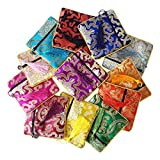 Gold Fortune Schmuckbeutel aus Seide, Brokat, mit Kordelzug, Geschenkbeutel, verschiedene Farben, 12 Stück
