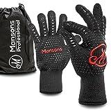 Mansons Hitzebeständige Handschuhe I 1 Paar Premium Grillhandschuhe bis 500 Grad, schwarz I Ofenhandschuhe Topfhandschuhe Backhandschuhe Backofenhandschuhe Kochhandschuhe Hitzehandschuh