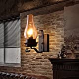 JiaYouJia Retro Vintage Schwarz Ein Licht Metall wandleuchte mit Glas Schornstein Schatten E27 (Ohne Glühbirne)