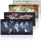 JIALONG Großes Gaming Mauspad XXL Mousepad 900x400 Schreibtischunterlage Wasserdicht Anti Rutsch Matte für Computer, PC und Laptop - Schwarz Weltkarte
