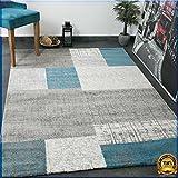 Designer Kurzflor Teppich in Türkis Blau, Grau und Weiß Kachel-Optik Pflegeleicht -VIMODA, Maße:120x170 cm