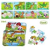 BBLIKE Kinderpuzzle, Kinder Tier Holzpuzzle Pädagogisches Spielzeug Puzzle Jigsaw Puzzles Set 8-In-2-Box 112pcs Kinder Beste Geburtstagsgeschenk für Jungen Mädchen (Wilde Tiere)