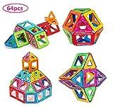 Morkka Magnetische Bausteine 64 Teile Magnete Bauklötze Konstruktion Blöcke Bausatz Pädagogisches Spielzeug Set Kreative Spielzeuge Kinder Kleinkind Mädchen Jungen Tolles Weihnachtsgeschenk