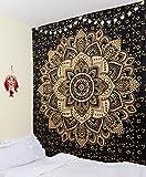 Craftura Wandbehang, Mandala-Muster,Bohemian Art, 100 % Baumwolle, 213,4x 228,6cm, Schwarz / goldfarben