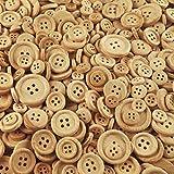 100 Gramm rustikale, naturbelassene Holzknöpfe (ca. 200 Stück) - Größe: ca. 10 bis 25 mm rund - Vierloch-Knöpfe aus Holz zum Scrapbooking, Nähen, Basteln und Dekorieren