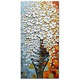 Asdam Art-elegante weiße Blume Öl Gemälde auf Leinwand Bilder Home Dekoration 100% handgemaltes Wandbild Art Artwork für wohn - und schlafzimmer wohnaccessoire(24x48 inch)