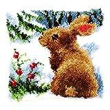 Vervaco PN-0147712 Knüpfkissen Kaninchen im Schnee