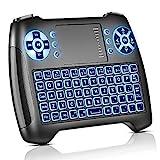 Molorical Mini Tastatur mit Touchpad Beleuchtet, Funktastatur mit Maus, 2.4GHz QWERTY Keyboard Kabellos, Wireless Tastatur USB Fernbedienung, für Smart TV, HTPC, IPTV, Android TV Box, XBOX360, PS3,PC