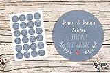48 x Personalisierte Adress Aufkleber Kraft BLAU Wunschdruck Aufkleber matt 4cm Etiketten Geschenkaufkleber