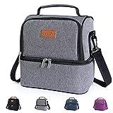 Lifewit Lunchtasche Mittagessen Tasche Thermotasche Kühltasche Isoliertasche Picknicktasche für Lebensmitteltransport 7L,Grau