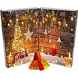 Hallingers Adventskalender edler Fruchtsaftbärchenkalender Buch Weihnachtskerzen | DoubleKarton | 500g