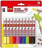 Marabu Kreativfarben Kids Textilmarker, 10er-Sortierung