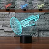 Ahat Romantische 3D Led Illusion Tisch Schreibtisch Deko Lampe 7 Farben ändern Nacht Licht für Schlafzimmer Home Decoration, Hochzeit, Geburtstag, Weihnachten und Valentine Geschenk(Trompete)