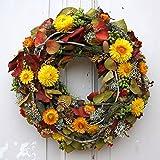 FRI-Collection Meisterfloristik Türkranz Herbstkranz Strohblumen Wandkranz Kranz Handarbeit Gelb 38 cm #46699